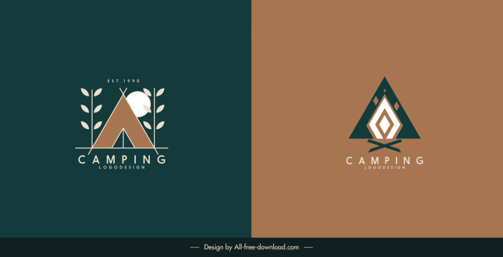 camping logo templates flat classic shapes decor