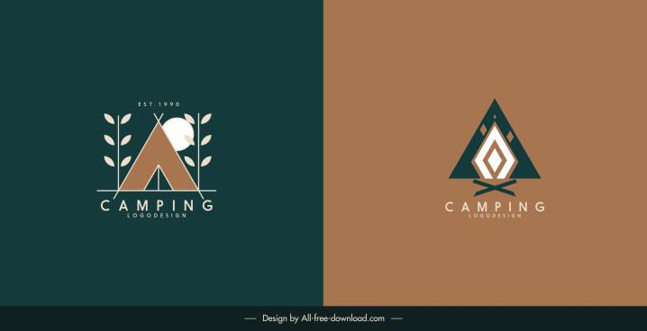 camping logo templates flat classic shapes decor
