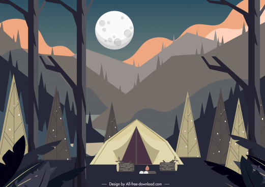 camping painting mountain scene tent sketch classic design