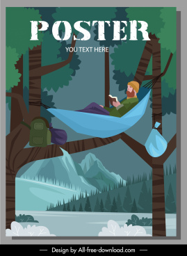 camping poster tourist hammock sketch cartoon design