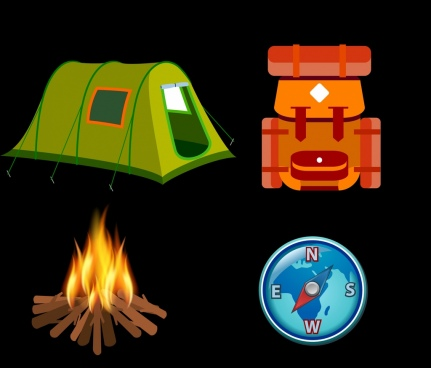 camping tool icons isolation colored 3d symbols