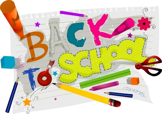 back to school banner handdrawn texts education tools
