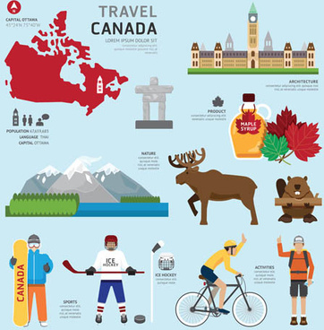 canada tourism elements vector