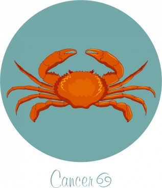 cancer zodiac sign icon colored crab decor