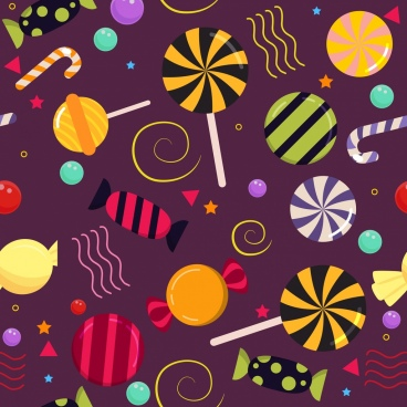 candies background multicolored shiny icons