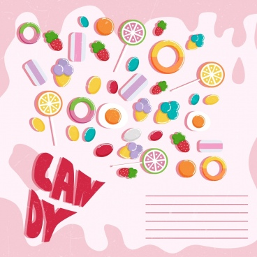 candies banner colorful shaped icons classical design