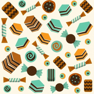 candies cakes backdrop repeating icons classical design