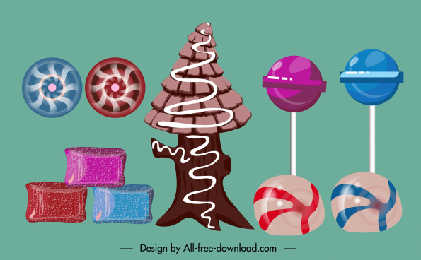 candies icons colorful classic shapes flat sketch