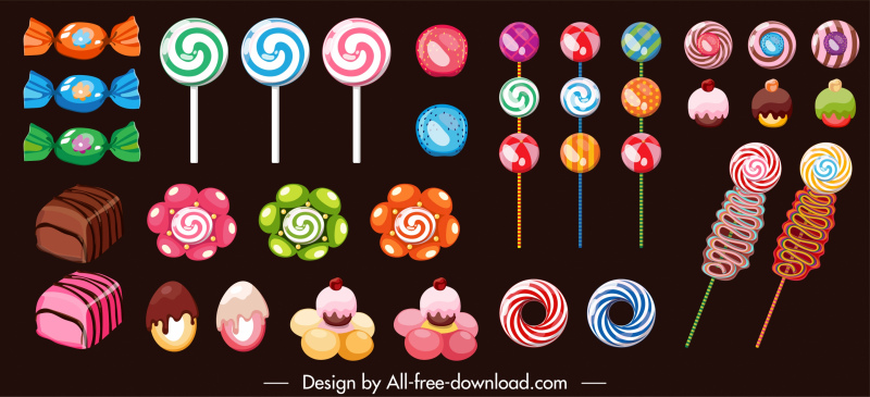 candies icons colorful shapes decor