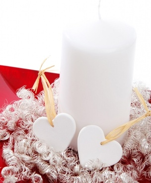 candle and hearts decoration