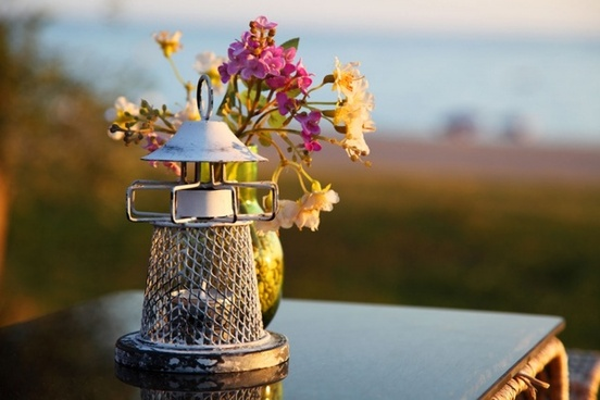 candle holder and flowers