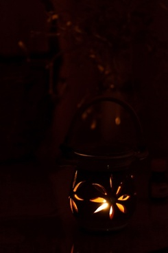 candle lamp in dark