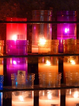 candles colorful grave light