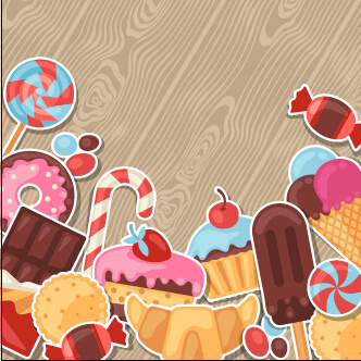 candy and sweets vector background set