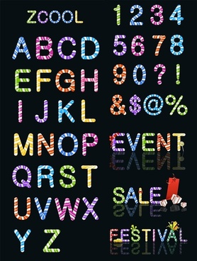 candy colored letters and numbers vector