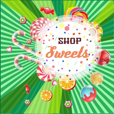 candy shop advertisement colorful shiny design rays decor