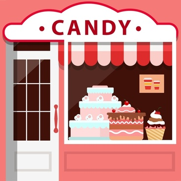 candy shop facade design with various cakes display
