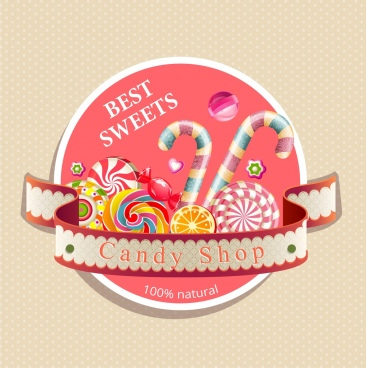 candy shop logotype multicolored 3d design ribbon decor