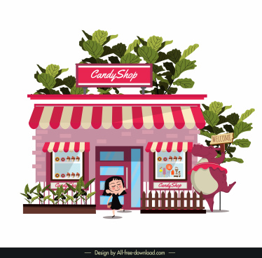 candy shop template cute pink decor