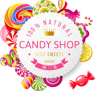 candy with sweets vector background art