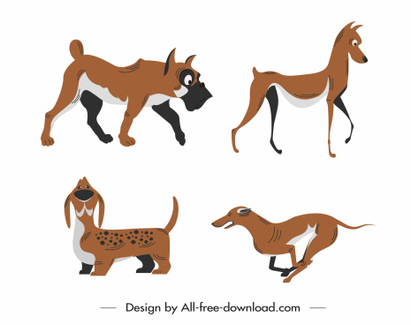 canies icons colored cartoon sketch