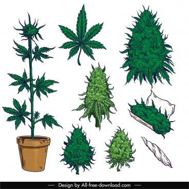 cannabis cigarette design elements tree leaf sketch