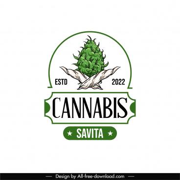 cannabis label logotype flat handdrawn classical design