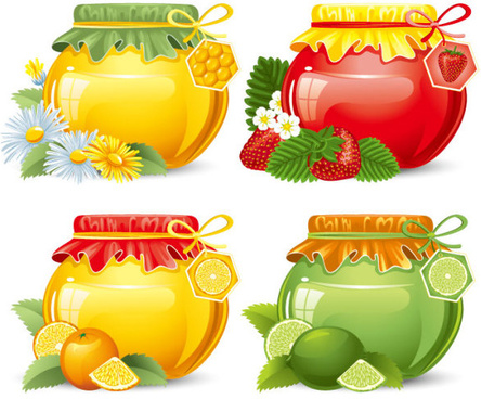 canned fruits in glass jars vector