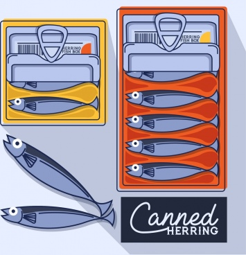 canned herring advertisement colored flat design