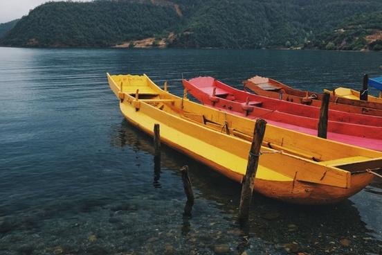 canoe coast daytime empty kayak lake leisure nobody