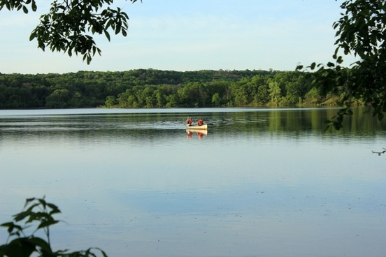 canoe in the clearing at willow river state park wisconsin