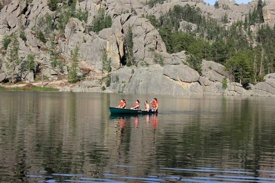 canoe in the lake in custer state park south dakota