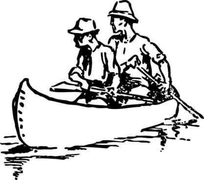 Canoe Traveling clip art