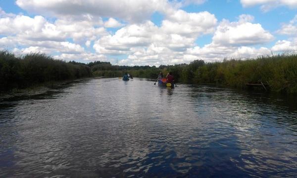 canoeing river landscape