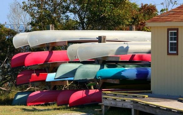 canoes boats boathouse
