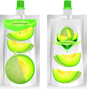 cantaloupe drinks with packing vector