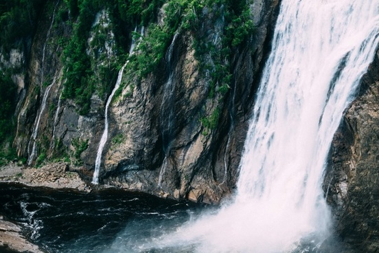 canyon cascade fall forest landscape moss mountain