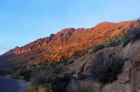 canyon wall in the fading light at big bend national park texas