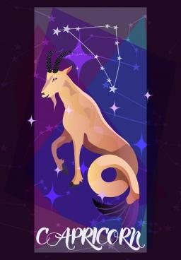 capricorn zodiac symbol goat icon sparkling stars connection