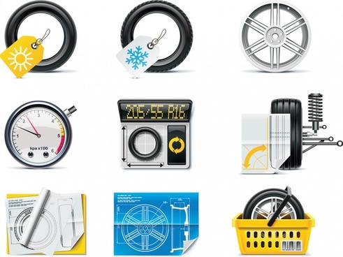 automotive accessories icons shiny colored modern sketch