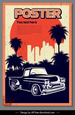 car advertising banner colored retro grunge decor