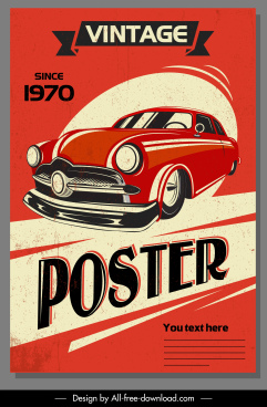 car advertising poster colored vintage design