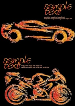 car and motorcycle vector strokes