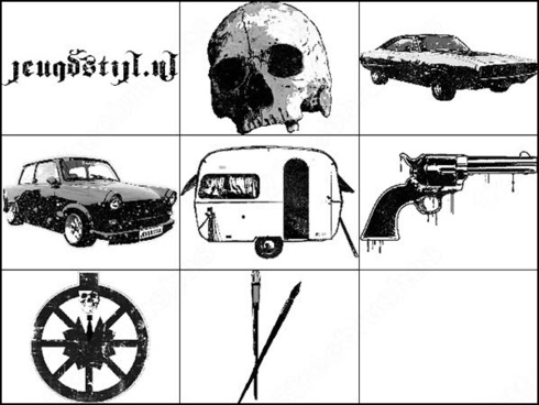 car and skull brush