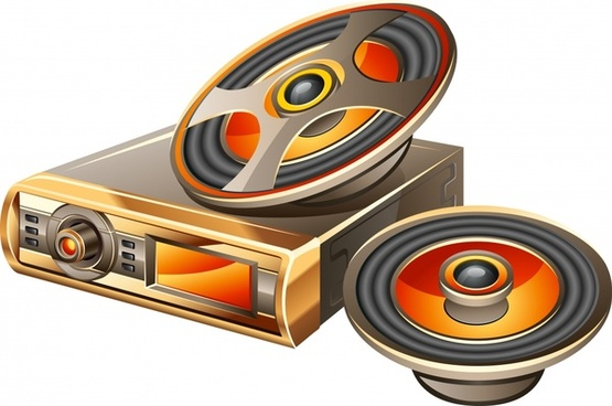 audio appliances icons modern 3d sketch