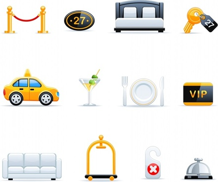 hotel service icons shiny colored modern symbols