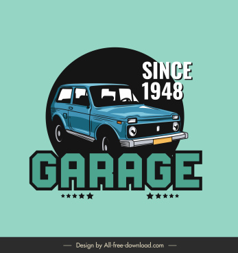 car garage advertising banner retro car sketch
