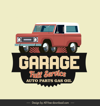 car garage sign template classical vehicle sketch