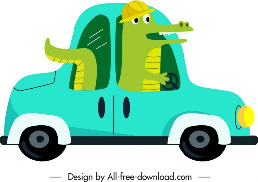 car icon crocodile driver sketch funny cartoon