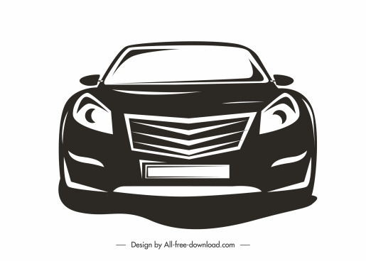 car icon front view sketch black white silhouette